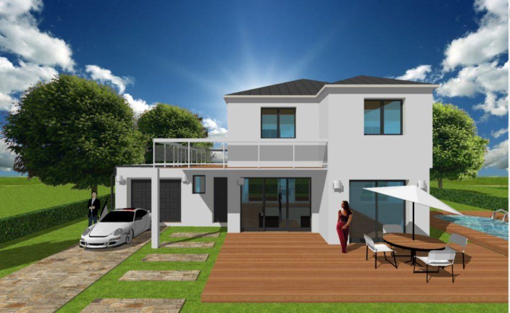 Maison ArchiReve Maison 4 pans et toit plat sur les yvelines avec debord de toit et balcon