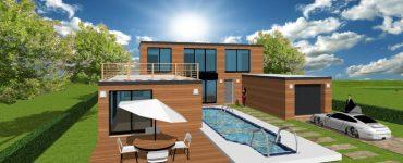 Maison ArchiReve maison contemporaine toit plat terrasse accessible en essonne avec un bardage bois